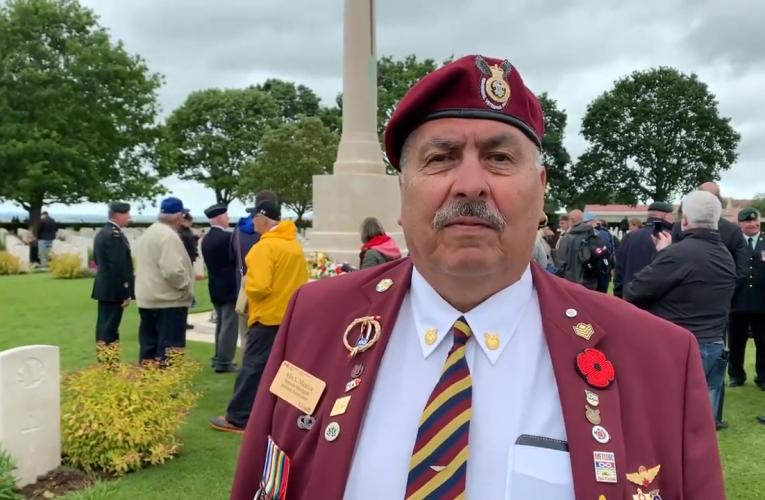 Métis veteran Alex Maurice at Canadian War Cemetery in Normandie